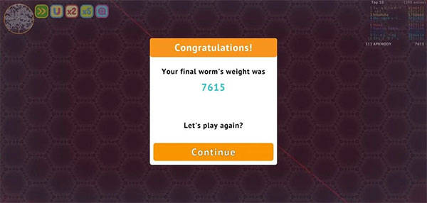 Playing more points will help earn coins to buy costumes for your worm