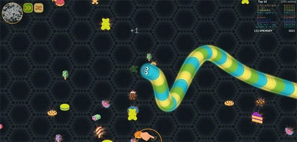 Eat sweets around to help your worm grow bigger